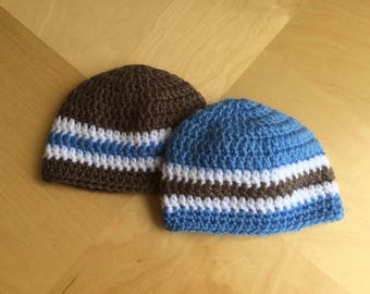 Set of 2 baby beanie hat, twin hats, crochet baby hat 0-3 month