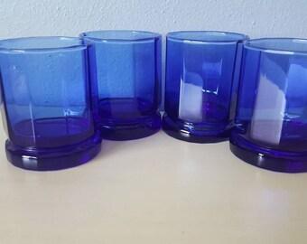 Vintage Colbart Blue Anchor Hocking Bar glasses