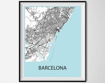 Barcelona Map Poster Print - Black and White