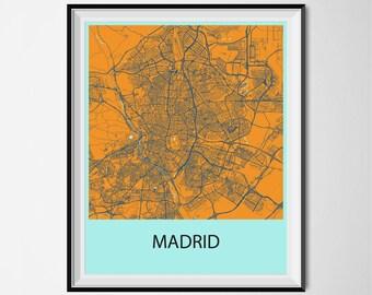 Madrid Map Poster Print - Orange and Blue