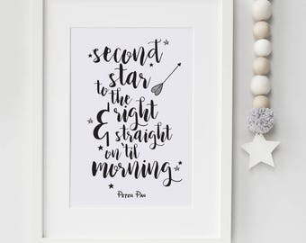 Second Star To The Right And Straight On Til Morning Print Peter Pan Quote Stars Nursery Wall Art Kids Book Quote Peter Pan Nursery Poster
