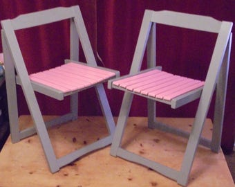 Pair of hand painted retro wooden folding chairs