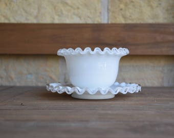 Vintage Fenton Silver Crest Mayonnaise Bowl and Plate, Crimped Clear Glass
