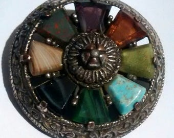 Signed Vintage Miracle Brooch Celtic Gemstone Glass Shield Antiqued Pewter