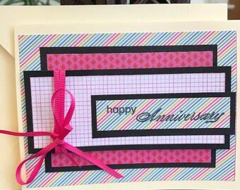 Happy Anniversary Card, Cheerful Anniversary Card, Pink Ribbon Anniversary Card, Multi-Color Happy Anniversary Card