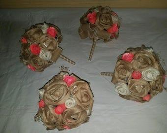Handmade Burlap Flower Bouquets