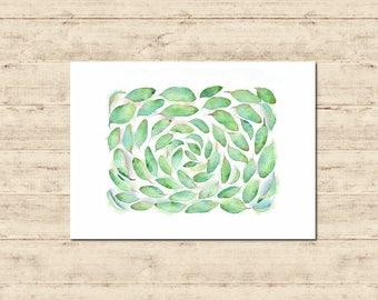 Green Leaves Watercolour Painting Postcard Poster Art Print Q91