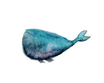 Blue Pink Whale | Digital Print 11 x 14 Art