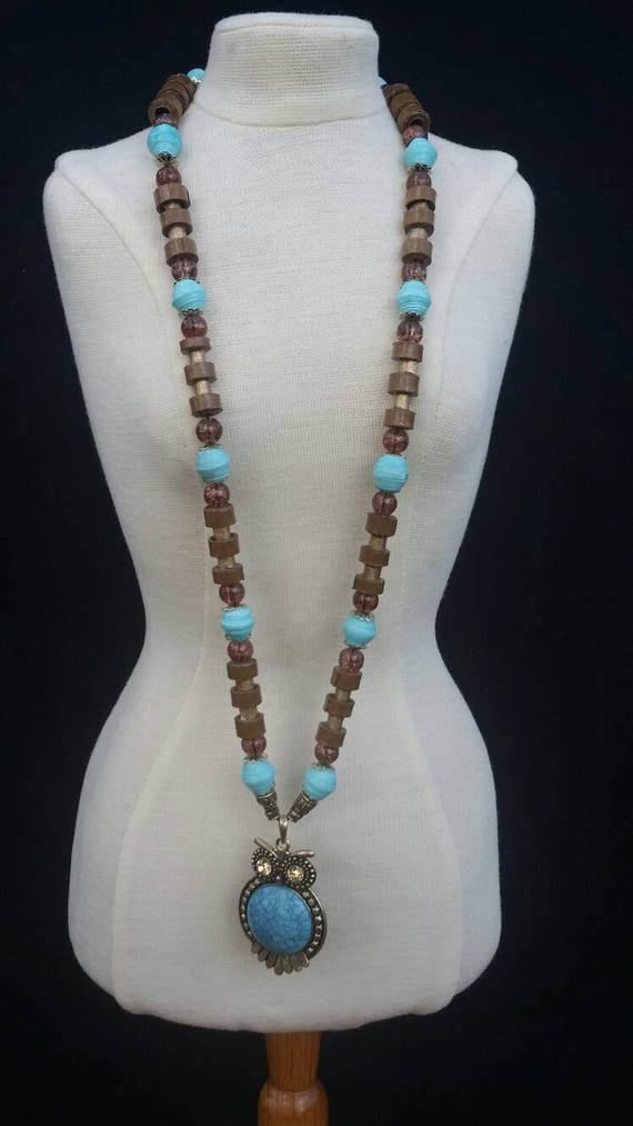 Paper Beads - Necklace - Owl Jewelry - Turquoise - First Anniversary Gift - Upcycled Fashion - Handmade Jewelry - Birthday Gift for Her