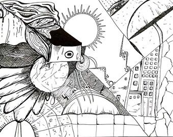 Dystopian black and white design