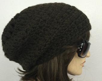 Women Crochet Hat Women Slouchy Hat in Brown Women Accessories Fall Fashion