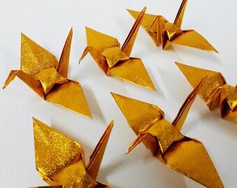 Small Shiny Gold Origami Cranes Set Of 100 PCS