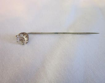 Antique Victorian Stick Pin with Large Solitaire White Rhinestone