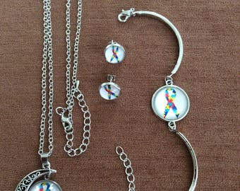 Autism symbol Picture Glass Necklace/Stud Earrings/Bracelet Jewelry Set Sets