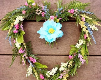 Spring/Summer Wreath,Heart Wreath,English garden wreath