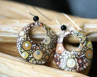 Brown Circle Dangle Earrings - Small