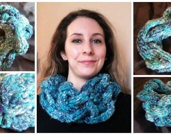 Blue braided scarf