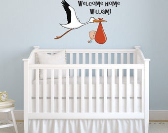 Stork and new born baby Wall decal Personalized Name for baby boy nursery room, Inspirationsarts