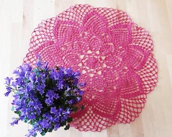 """Hand crochet doily 19"""" (50 cm) fuchsia/pink 100% lace cotton/crochet doilies/lace doilies/table decorations/place mat/crochet table mat"""