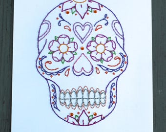 Día de los Muertos/ Day of the Dead Sugar Skull Hand Stitched Art