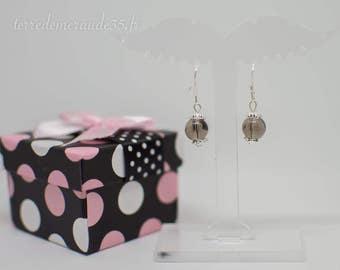 Pearls 8 mm smoky Quartz earrings