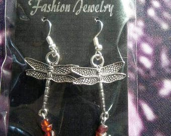 Dragonfly with Amber earrings