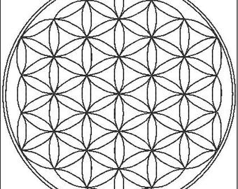 Flower Of Life (in straight stitch) Embroidery Design in 4 sizes