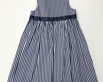 Manouchehri Navy And White Striped Dress
