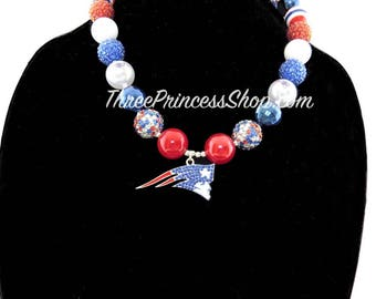New England Patriots Bubblegum Bead Necklace with Pendant