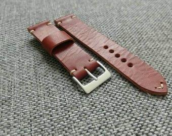Handmade dark english bridle distressed watch strap - 20mm