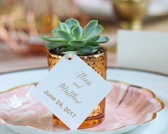 Personalized Square Metallic Foil Wedding Favor Tags
