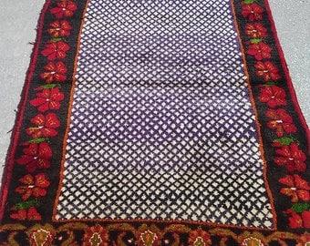 Oushak Rug,Vintage Turkish Oushak Tülü Rugs,Home living,Hand Made Tulu Rugs,3x6Ft,120x185Cm,Anatolıan Tulu Rugs,Faded blue,Purple Colors,