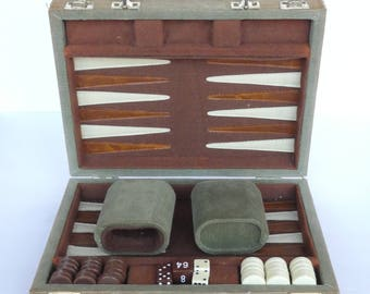 Vintage Traveling Backgammon Game