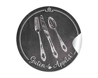 """24 STICKERS: 24 self-adhesive spice labels for the kitchen in the """"chalk-board-look"""" in black / anthracite with motif cutlery"""