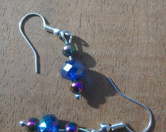 Dainty blue sparkle bead silver plated earrings with hematite