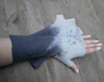 Felted Fingerless Gloves Fingerless Mittens Arm warmers Merino Wool