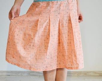 Midi comics skirt pattern pink cotton unigue, girls skirt