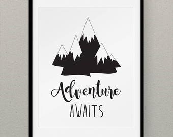 Adventure Nursery Wall Art, Monochrome Nursery Decor, Black and White Nursery Wall Art, Playroom Decor, Teen Room Decor - Adventure Awaits