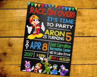 Mickey And The Roadster Racers Birthday Invitation -Mickey And The Roadster Racers Birthday Party Invitation
