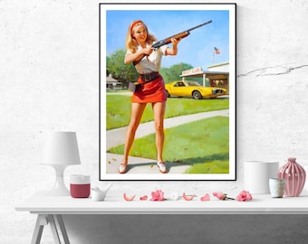 Gil Elvgren Blonde Pinup Girl with Gun Vintage Art Poster Print Canvas Wall Art Painting Home decor Pin up poster size A2/A3/A4