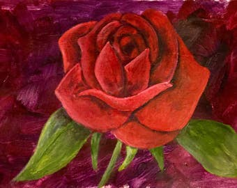 Red Rose Painting, Fine Art, Wall Art, Home Decor, Gift