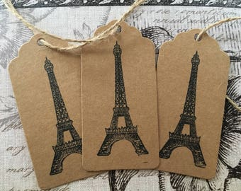 Vintage Eiffel Tower/Paris Gift Tags in Black and Sepia
