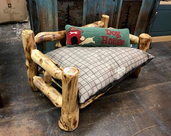 Aspen and Juniper Log Dog Bed and Mattress
