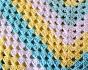 Handmade Baby Blanket – Crochet Granny Squares -baby shower gift - newborn present