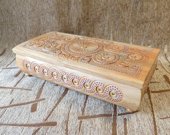 BIG JEWELRY BOX Wooden hand made carved from wood Very nice new #d108