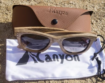 Hand made wooden sunglasses. Canyon Stillwater. wooden sunglasses. Hand made Zebra wooden frames. TAC UV400 polarized grey lenses