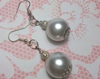 White Faux Pearl Earrings