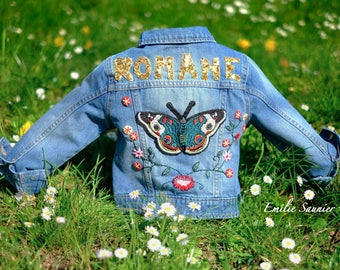 embroidered child jeans jacket / patch / custo