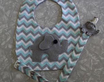 Elephant Bib and Pacifier Clip Set