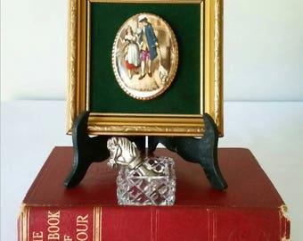 Gorgeous framed porcelain cameo mounted on dark green velvet.  Cries of London - Who'll Buy My Lavener 14cm x 14cm.